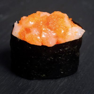 Gunkan filled with squid strips and mentaiko