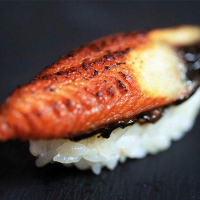 Cooked eel nigiri with sweet sauce on top