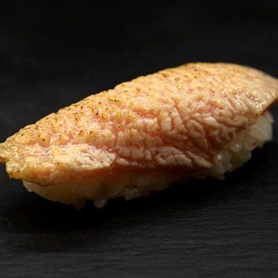 Seared Toro nigiri, Toro is the fatty part of wild tuna