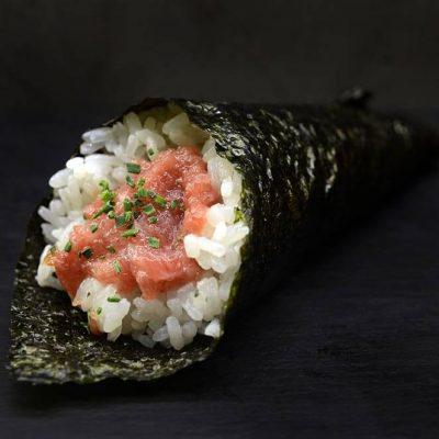 Temaki filled with Toro, Toro is the fatty part of wild tuna