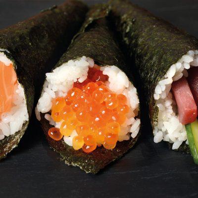 Temaki trio with salmon, tuna and ikura