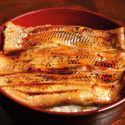 Unagi donburi: cooked eel with white rice
