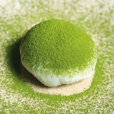 Homemade Mochi filled with green tea icecream. The mochi is made of rice powder