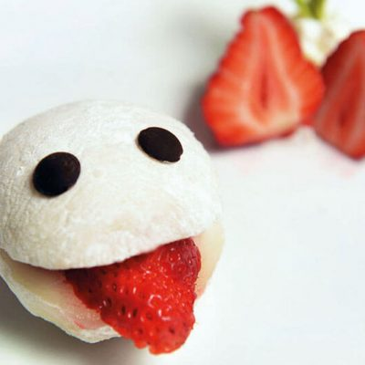 Homemade Mochi filled with strawberry icecream. The mochi is made of rice powder
