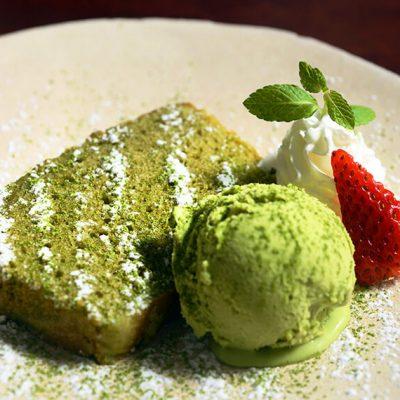 Homemade Green Tea Pound with green tea ice cream