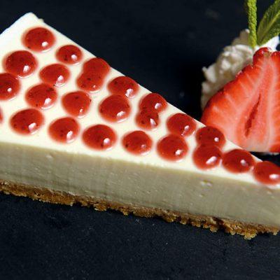 Homemade cheesecake with tofu and homemade strawberry jam on top
