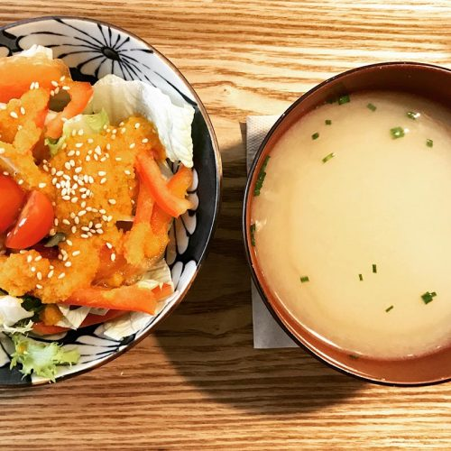 miso and salad