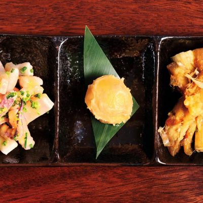 Three mini tapas: * Cooked squid marinated with miso and vinegar * Boild yolk pickled in sweet miso * Grilled eggplant with homemade ponzu sauce