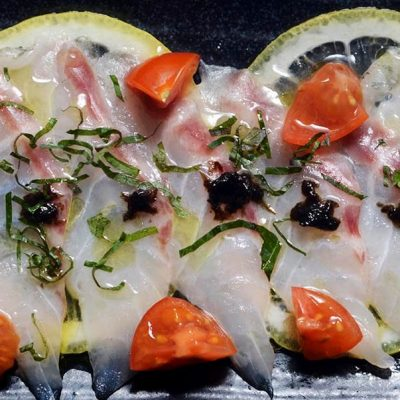 Carpaccio of sea bass with Japanese citrus sauce
