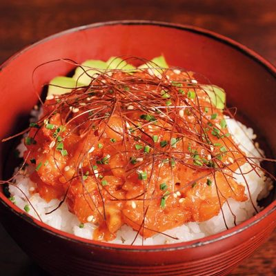 Donburi with spicy salmon and avocado