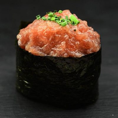 Gunkan filled with Toro, Toro is the fatty part of wild tuna