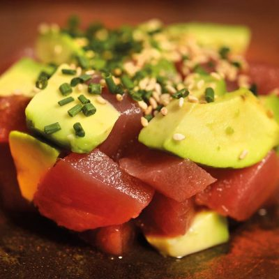 Dices of tuna and avocado with chives