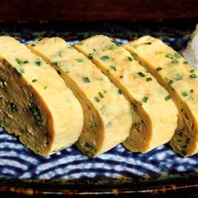Japanese omelette with a slighty sweet taste, cooked with broth of bonito and green onion